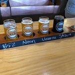 A flight of 4 5oz beers for sampling
