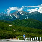 A cyclist challenges to the top of the highest highway in Japan