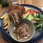 Steak meal including mushroom sauce