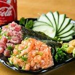 Temaki de salmão e atum