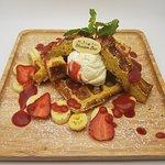 Strawberry& banana Waffle served with homemade strawberry sauce