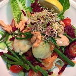 sallops in talisker malt on salad