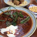 Goulash and duck meat balls at Zwickl