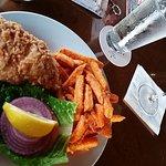 Grouper Fish sandwich, sweet potatoes fries! & wine on tap!
