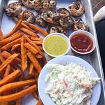 Blackened Shrimp w/ Sweet Potato Fries & Cole Slaw