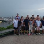 Group of 12 family friends with Jennifer and Dayana at the Christ monument overlooking Havana!