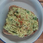 Avocado with chilli and lemon on toast