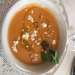 Chilled Tomato Soup with Goat Cheese and EVOO