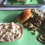 BBQ Sandwich, potato salad, and awesome pickles