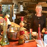 The owner of The Trading Post in her open kitchen