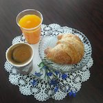Great breakfast place. Freshly squeezed orange juice, fluffy warm croissant and a cup of wonderf