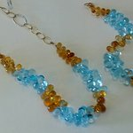 Blue and yellow Topaz with 18ct gold