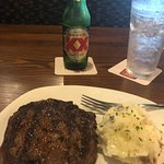 10 oz ribeye, masked potatoes, Dos Equis & water - 6-30.18