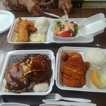 Seafood platter, captain's platter and loco moco