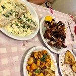Lamb ribs, fava beans and roasted potatoes.