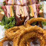 Gemini Club Sandwich with Saturn Onion Rings