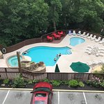 Pool and hot tub area is directly adjacent to the river
