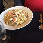 Seafood Fettuccine. Generously served
