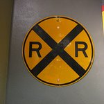 The railroad crossing sign
