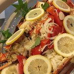 Splendid Lobster alla Catalana, with tomatoes, fresh onions, lemon juice, black pepper. Only on