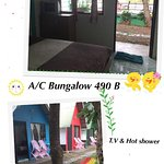 Two bungalows with private bathroom, TV, air con and 1 double bed
