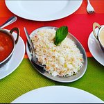 Chicken curry and korma with Pilau rice