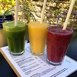 Red, yellow and green smoothies!