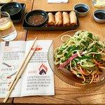 Sashimi salad and spring rolls