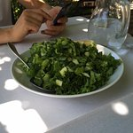Lettuce with spring onions and lemon, fresh and delicious