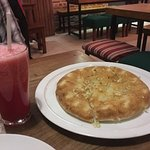 Garlic Focaccia and watermelon juice