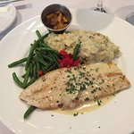 NC Trout special with green beans and mashed potatoes