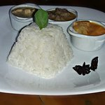 Curry Trio: red veggie, meet matsaman and green chicken, acompanied by anis infused rice!