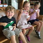Kids eating homemade ice cream