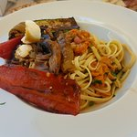 pasta with sea urchins and grilled vegetables