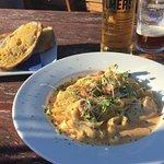 Chicken and Chorizo pasta, with (at an additional cost) garlic ciabatta