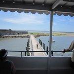 Park ranger greeting ferry passengers