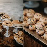 Wedding macaron and pie display by Flavor Cupcakery