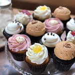 Bright colorful wedding cupcake variety by Flavor Cupcakery