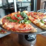 Pizza half Calabrese, half BLT. Thin, freshly made crust, all fresh ingredients.