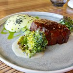 Beef – grilled broccoli, creamy Gorgonzola sauce, leek cream