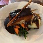 pork belly, mash and veg