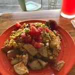 Vegan tofu scramble and roasted potatoes, so delicious! Full of flavor!