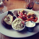 Sauteed Lobster, Baked Potato, Cole Slaw, & Remnants of Blueberry Mojito