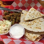 Seafood quesadilla and fried okra