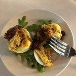Deviled Eggs w Fried Oysters (half portion, we split)