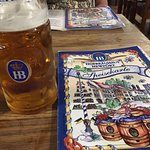 Hofbrauhaus small beer mug and menu