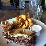 Pastrami sandwich and fries