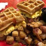 Waffle breakfast sandwich!