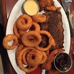 chicken to the left dark shrimp on right double onion ring order