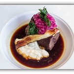 Featherblade of Beef, Celeriac Puree, Pickled Red Onion & Red Wine Jus